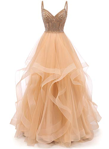 Lilibridal Tulle Crystal Beaded Prom Dresses Tiered Formal Evening Dresses Spaghetti Strap Ball Gown(Champagne 18 Plus)