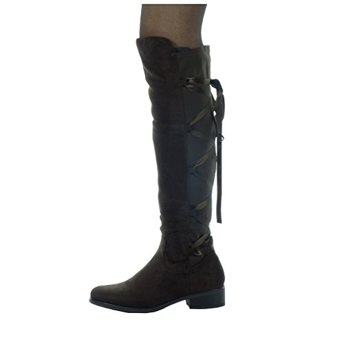 Block Damenmode Angkorly Spitze CM Heel Schuhe Stiefel Braun High cavalier 3 weich 5 Satin 0wqHFwd