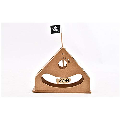 DJX Pet Wooden Cat Toy Funny Interactive Cat Toy Hanging Fish and Pirate Fun Hide and Seek Pendulum Toy - Triangle Structure/Food Trough/Round Edge