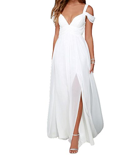 ZVOCY Off The Shoulder Chiffon Long Evening Prom Dress slit Bridesmaid Plus Size Formal White 18
