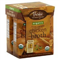 Pacific Natural Foods Organic Chicken Broth, Free Range, (4)-8 Oz Containers, (Pack of 2)