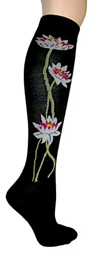Foot Traffic Lotus Flower Knee High Socks, Beautiful Black with White Flower Design
