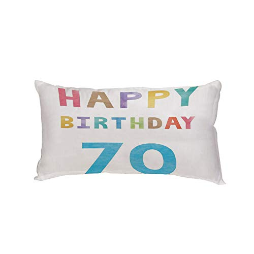 iPrint Polyester Car Neck Pillow,70th Birthday Decorations,Vintage Worn Abstract 70 Happy Birthday Party Quote Art Print,Multicolor,13.7x7.8Inches,for Car Designed,Travel Car Seat & Home ()