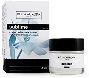 Bella Aurora Crema de Noche Mujer Anti-Edad Regeneradora + Años, Anti-Arrugas, Efecto Lifting, Pieles Maduras, Cuida y Mejora el Microbioma de la Piel, Sublime, Azul, 50 Mililitros