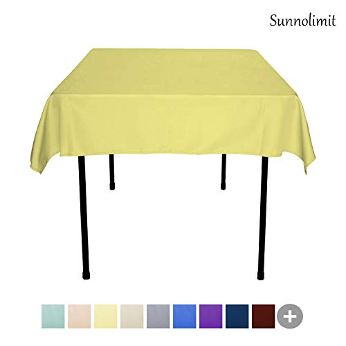 Sunnolimit Tablecloth - 54 x 54 Inch -Yellow-Square Polyester Table Cloth, Wrinkle,Stain Resistant - Great for Buffet Table, Parties, Holiday Dinner & More