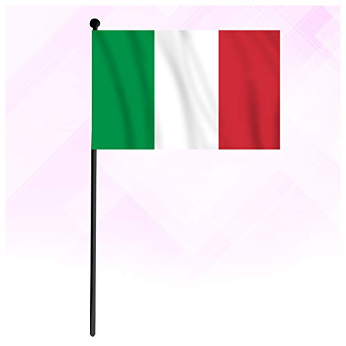 Italy Hand Flag, Small Mini Hand-held National Country Flag, Hand Waving Flag for Party Decorations Supplies for Parades, World Cup, Sports Events, International Festival (12