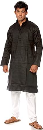 Exotic India Plain Black Kurta Pajama Size 40