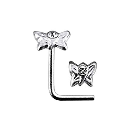 White Jeweled Butterfly Top 22 Gauge Silver L Shape - L Bend Nose Stud Nose Pin