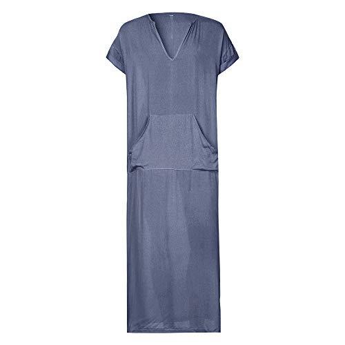 JESPER Mens Solid Ethnic Robes Loose Striped Short Sleeve Thin Vintage Dress Kaftan Gray by JESPER (Image #1)'