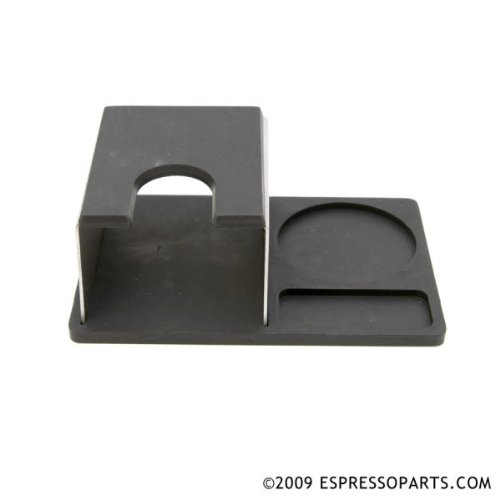Espresso Parts Barista Basics Stainless Steel Tamp Stand with Rubber Base and Tamp Rest, Black/Stainless Steel