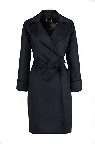 100% Cashmere Women's Lapel Coat with Belt L-2XL Size by Gobi Cashmere (Black, L)