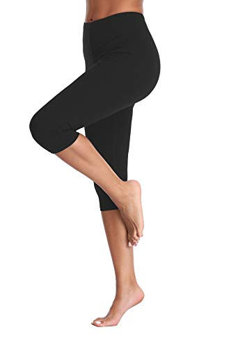 Kotii Women's Lightweight Soft Capri Leggings Crop Leggings 3/4 Stretch Yoga ()