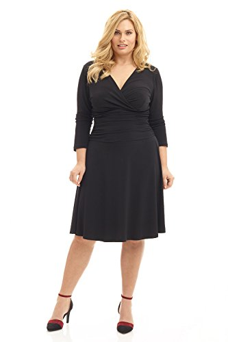 Rekucci Curvy Fit Plus Size Women's Slimming 3/4 Sleeve Tummy Control Dress (14W,Black)