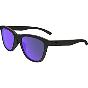 Oakley Women's Moonlighter Polarized Iridium Round Sunglasses, Matte Black, 53 mm