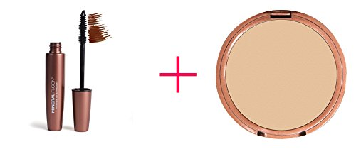 Mineral Fusion, Lengthening Mascara, Rock/Brown, 0.57 fl oz AND Mineral Fusion, Pressed Powder Foundation, Light to Full Coverage, Warm 2, 0.32 oz - BUNDLE by Shell Products