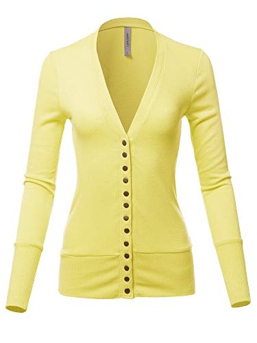 (Causal Snap Button Long Sleeves Everyday Cardigan Banana M)