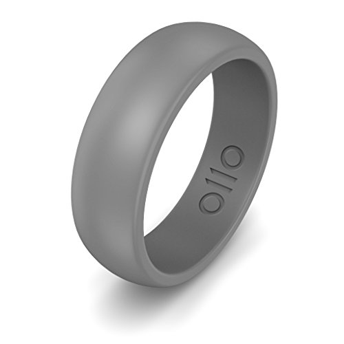 OLLOBAND Men's Silicone Ring - Safe Wedding Band, Yoga, Crossfit Rubber Ring, Weight Lifting, Training, Exercise, Fitness, Firefighter, Police Officer, Medical Grade Silicone (Lt. Grey, - Band Fighter Rubber
