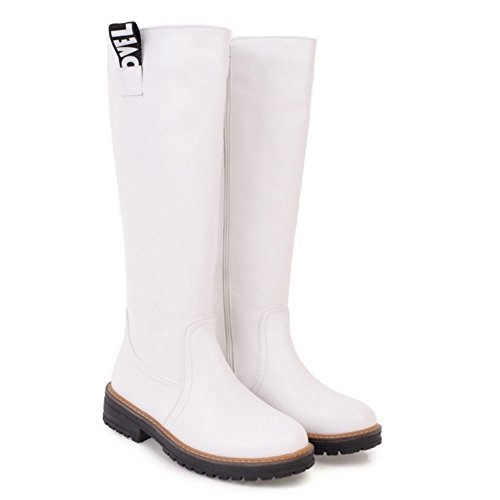 COOLCEPT Women Long Boots Zipper 84 White 10r69uuVj