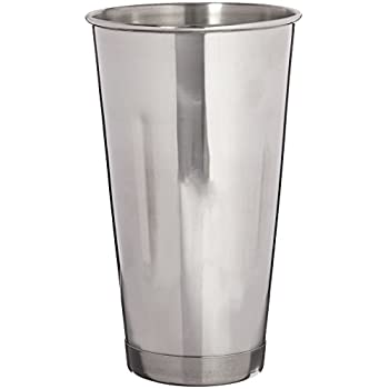 DURAWARE 30 oz New Commercial Grade Stainless Steel Cups, Malt Cup, Milkshake Cup, Blender Cup, Cocktail Mixing Cup 1 Pc, Small, Silver