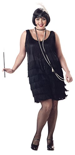 California Costumes Women's Fashion Flapper Plus Size Costume, Black, 2XL (Black Flapper Dress Halloween Costumes)