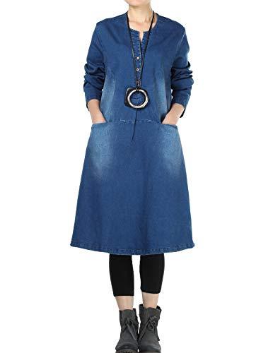 Mordenmiss Women's New Denim Dresses Spring/Fall Knee Length A-line Shirt Dress with Pockets (Blue,XXL)