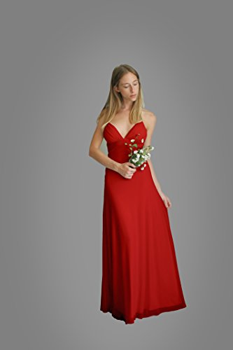 Women's Dress, Red Evening Dress, Size L, Maxi Long Dress for Wedding or Bridesmaid, Chiffon Lycra Classic Gown by Guy Sharon