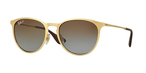 Ray-Ban Erika Metal Polarized Round Sunglasses, Matte Gold, 54 - 54mm Ray Ban Clubmaster