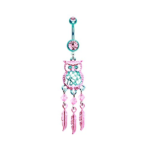 Inspiration Dezigns 14G Colorline Guardian Owl Dreamcatcher Belly Button Ring