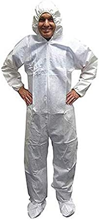 FGS SMS Protective Coverall with Hood Disposable 1pc//pk Elastic Wrist and Ankles XL, White Zipper Front
