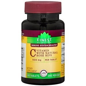 Finest Natural Vitamin - Finest Nutrition Vitamin C with Natural Rose Hips 500mg, Tablets, 100 ea by Finest Nutrition