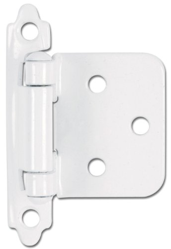 Hardware House 59-9936 Flush Mount Self-Closing Cabinet Hinge, 2-Pack, White