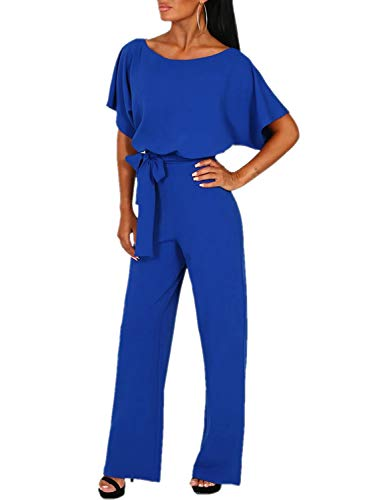 Gyozelem Women Casual Loose Short Sleeve Belted Wide Leg Pant Romper Jumpsuits Medium Royal Blue