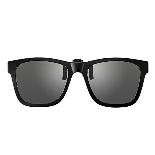 BELLBESSON-Polarized Clip-on Flip up Clip Wayfarer Sunglasses Lenses TR90 Frame (Dark Dray, - Wayfarer On Sunglasses Clip
