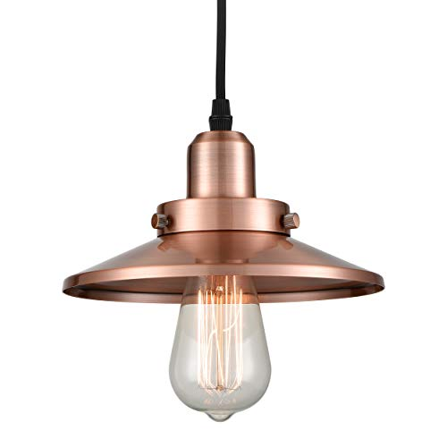 Pendant Light Copper (WILDSOUL 20011-AC 1 Light Mini Pendant, Vintage Metal Pendant Light, Antique Copper Finish Modern Farmhouse Lighting Fixture)