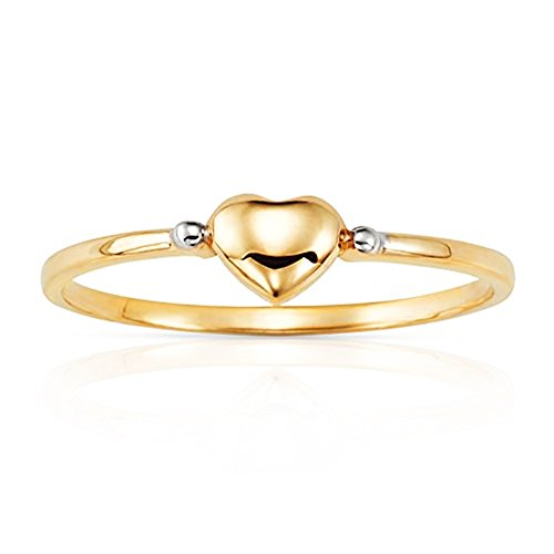 Jewel Connection Simple Solid Heart Stackable Ring in 14K Yellow Gold (6) by Jewel Connection