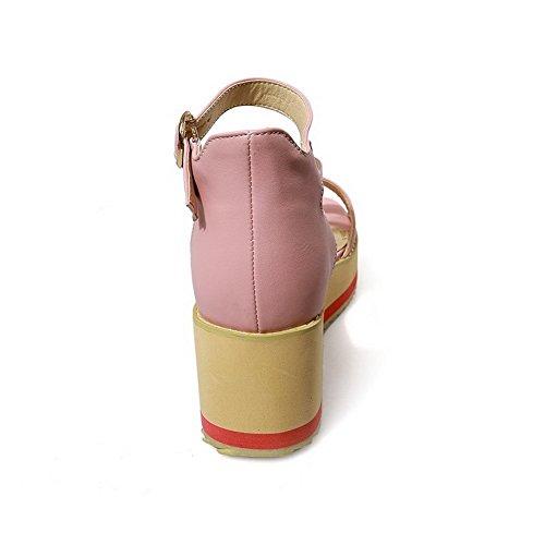 AllhqFashion Mujeres Hebilla Puntera Abierta Plataforma Cuero Sólido Sandalia Rosa