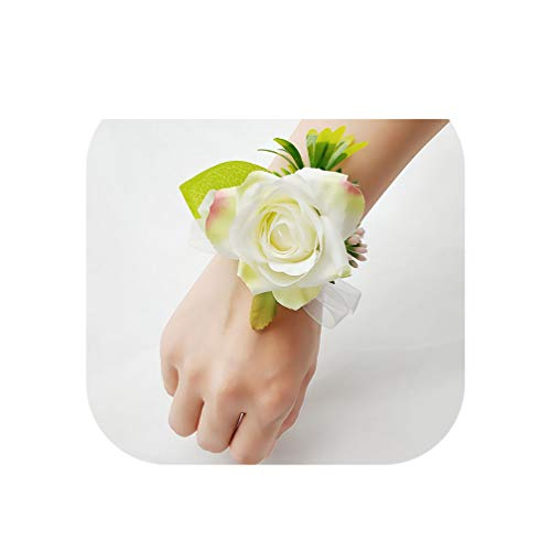- Wedding Wrist Corsage Bracelet Flower Georgette Groom Boutonniere Buttonhole White Pink Roses Wedding Bracelets for Women,White Bracelet