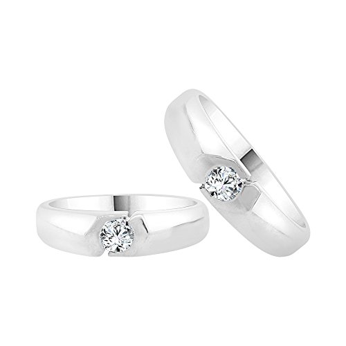14k White Gold, His & Her Duo 2 Piece Matching Bands Ring Set Created CZ Crystals by GiveMeGold