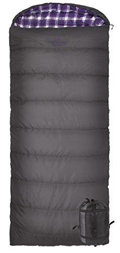 TETON Sports Fahrenheit Regular 0F Sleeping Bag, for Women; TETON Sleeping Bag Great for Cold Weather Camping; Lightweight Sleeping Bag; Hiking, Camping; Grey/Purple, Right Zip