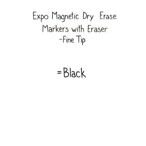 EXPO Magnetic Dry Erase Marker with Eraser, Fine Tip, Black, 12-Count by Expo (Image #4)