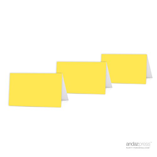 Inspirational Anniversary Cards (Andaz Press Table Tent Printable Place Cards on Perforated Paper, Blank Yellow, 20-Pack, Placecards Table Settings for Baby Bridal Wedding Shower, Anniversary Celebration, School Graduation, Outdoor Event, Picnic, Luau, Christmas)