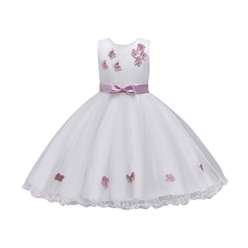 Sumen Wedding Dress Little Girls Bridesmaid Pageant Birthday Party Gown Flower Dress (4T, Pink) by Sumen Baby