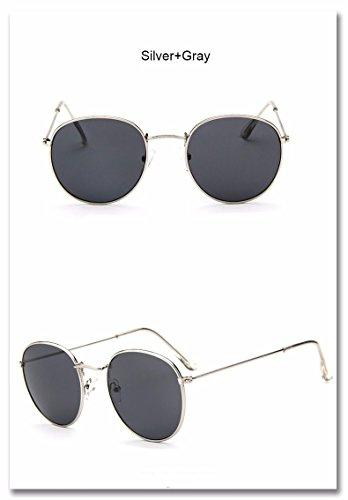 sol redondas para de gafas de Sol mujer Mujeres femenino Uv400 espejo ZHANGYUSEN Retro 9 gafas 2018 4 aleación Hombres Oculos q1xRS8w