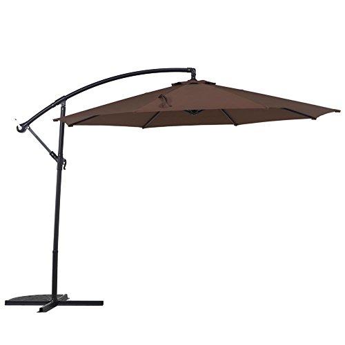 Grand Patio 10 FT Offset Umbrella, UV Protective Pool Umbrella, Aluminum Cantilever Umbrella with Crank and Air Vent, Brown