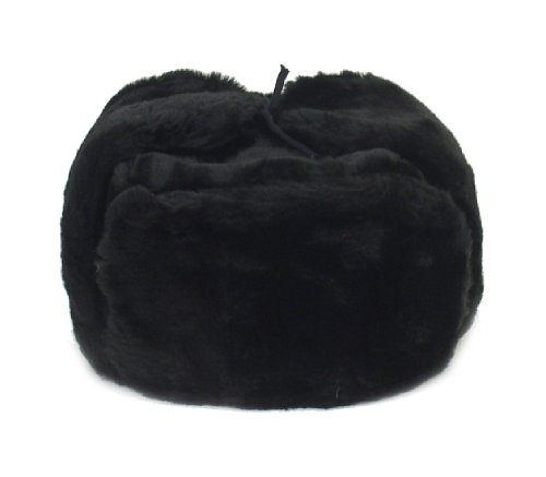 Russian Winter Hat *Shapka-Ushanka*BLACK*Size M (metric - 58 Hat Size