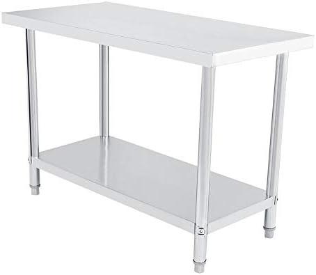 Arbeitstisch mit 2 Ebenen aus Edelstahl, Küche Catering Arbeitstisch, aus Edelstahl mit 0,6 mm, Höhe der zweiten Platte verstellbar 122X61cm