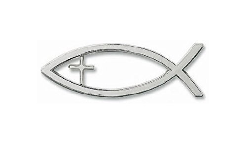 (MOKRIL Religious Christian Symbol Sign Ichthus Jesus Fish with Cross Emblem Exterior Waterproof Vinyl Car Truck Sticker Decal, Color Silver, Ships from U.S)