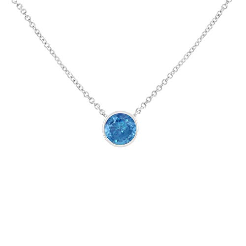 Sterling Silver Treated Blue Diamond Pendant Necklace (0.10 cttw, Blue, I1-I2 ()