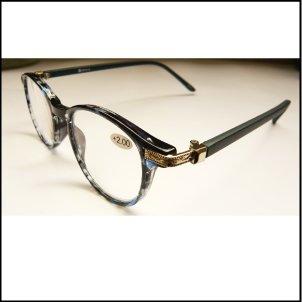 YGJ76 / 복고풍 손잡이가 포인트 인 로이드 안경 돋보기 (1.0, Blue / Blue)