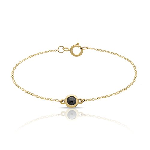 14K Yellow Gold Tiny Circle Bracelet Dainty Dot Bracelet w Black Diamond 0.15 Carat Circle Bracelet 5mm - 0.6 gram, w Clasp Gift For Her